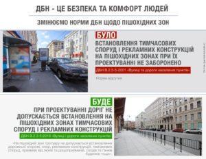 З 1 вересня при проектуванні доріг не допускається встановлення кіосків і рекламних конструкцій на пішохідних тротуарах