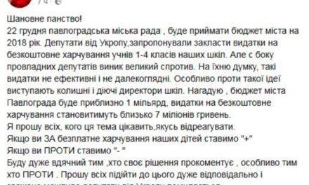 Чи будуть учні молодших класів Павлограда з обідами?