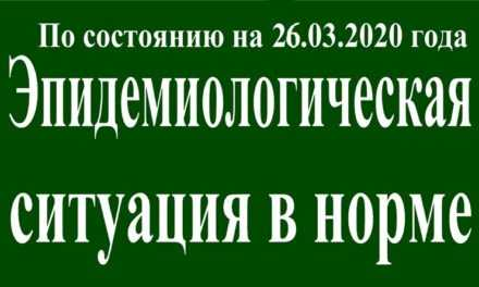 На 26 марта эпидситуация в Павлограде в норме