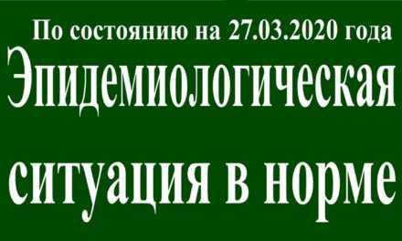 На 27 марта эпидситуация в Павлограде в норме