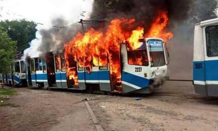 В Дніпрі майже повністю згорів трамвай
