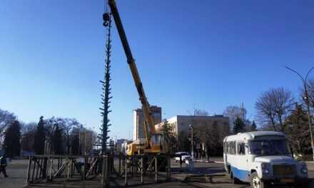 На Соборной площади Павлограда начали устанавливать главную городскую ёлку